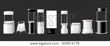 Set of advertising pillars, columns, pennants - modern vector isolated illustration on transparent background. Realistic white and black roll up and pop up banner stands, tripods, booths for promo offers