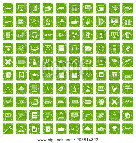 100 education technology icons set in grunge style green color isolated on white background vector illustration