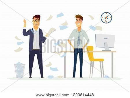 Furious boss in the office - modern cartoon people characters illustration. Exasperated man throws papers, documents in anger. An example of a stressful situation at work, impatience poster