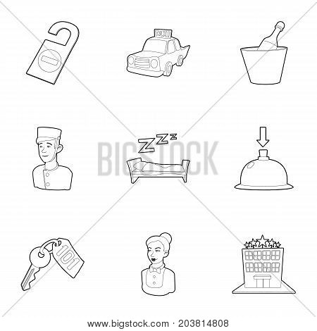 Hotel staff icons set. Outline set of 9 hotel staff vector icons for web isolated on white background