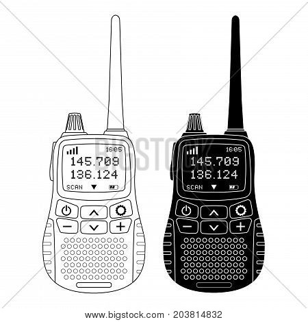 Radio transceiver. Portable device with screen and antenna. Black and outline flat illustration. Vector isolated on white background