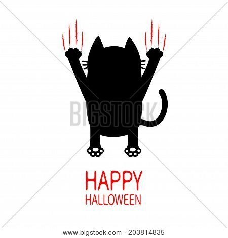 Happy Halloween Cartoon black cat. Back view. Red bloody claws animal scratch scrape track. Cute funny character. Greeting card. White background. Isolated. Flat design. Vector illustration