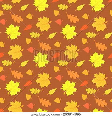 Fall season seamless pattern with leafs on brown background