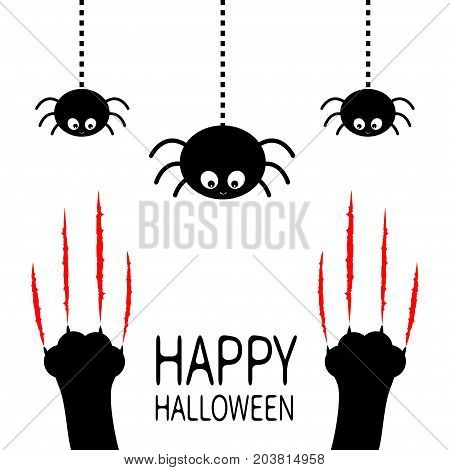 Red bloody claws animal scratch scrape track. Black cat scratching paw leg foot set. Hanging spider. Happy Halloween. Cute cartoon character silhouette. Baby pet. Flat design. White background Vector poster