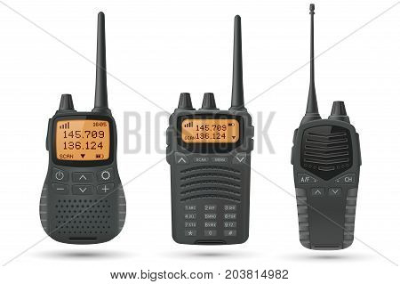 Radio transceivers. Set of 3d illustrations. Vector isolated on white background