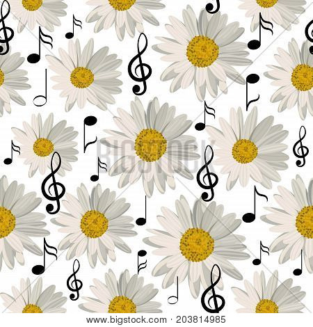 Seamless pattern with music notes and daisies isolated on white background.