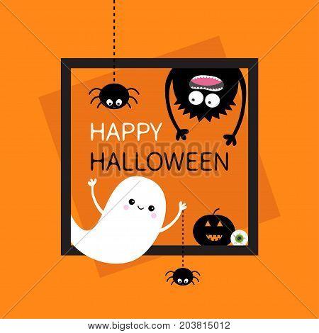 Happy Halloween card. Square frame. Flying ghost monster head silhouette. Hanging upside down. Black spider dash line. Pumpkin eyeball. Cute cartoon baby character. Flat Orange background. Vector