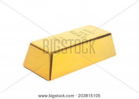 Gold bullion isolated on white background .