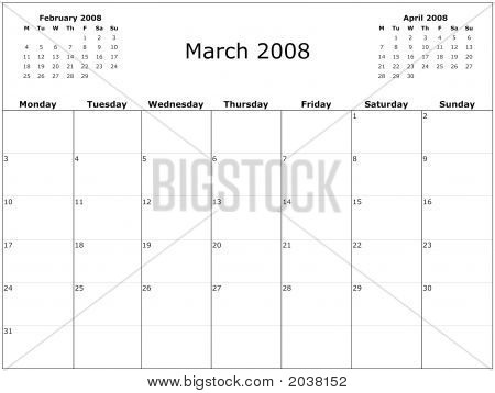 2008 Year Monthly Calendar