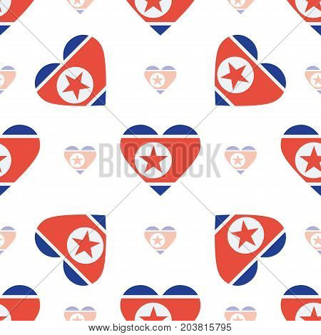 Korea, Democratic People's Republic Of Flag Patriotic Seamless Pattern. National Flag In The Shape O
