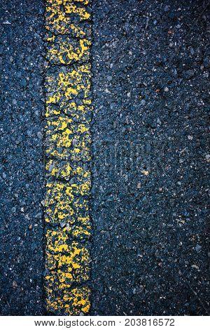 Asphalt Texture Road Yellow Old Marking Line. Outdoor.