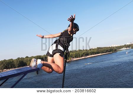 Rope Jumping: people in flight from a height. Ropejumping