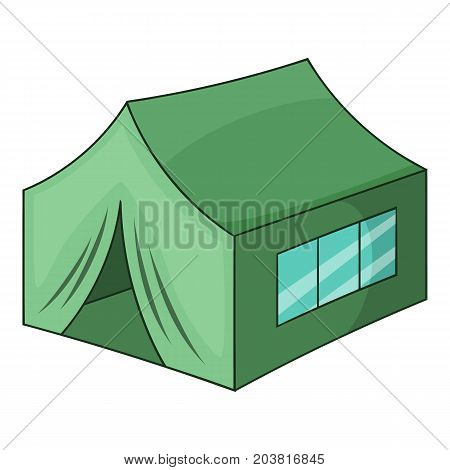Military tent icon. Cartoon illustration of military tent vector icon for web