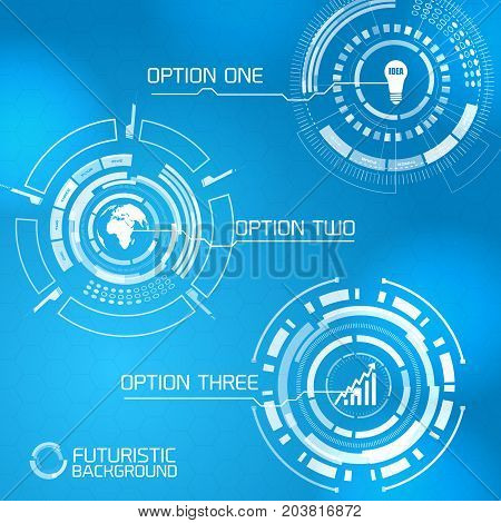 Modern virtual technology user interface menu design futuristic numbered round selector button options on blue background vector illustration