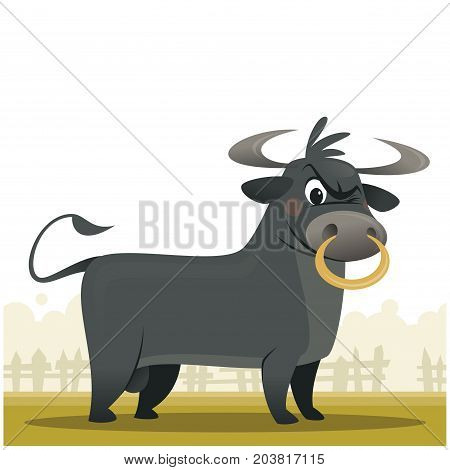 Cartoon illustration of a mad bull looking at us isolated in white background