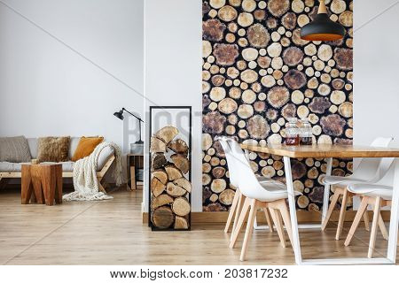 Dining Room Interior With Firewood