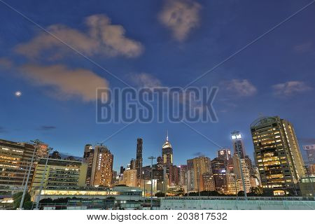 View Of Wan Chai At Night 2017
