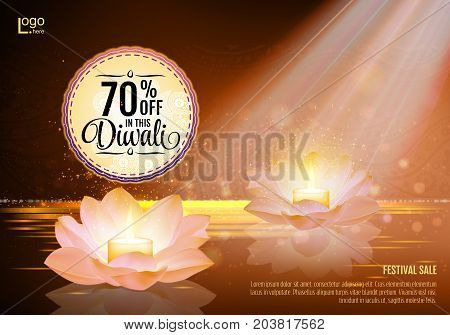 Diwali Festival Offer Poster Design Template with Lotus water lanterns and fireworks. Brown