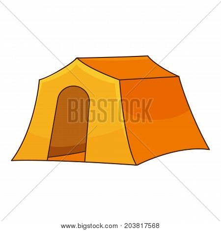 Orange tent icon. Cartoon illustration of orange tent vector icon for web