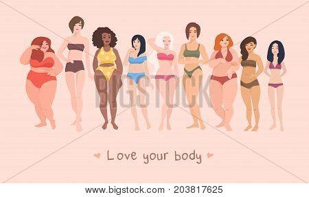 Multiracial women of different height, figure type and size dressed in swimsuits standing in row. Female cartoon characters. Body positive movement and beauty diversity. Vector illustration