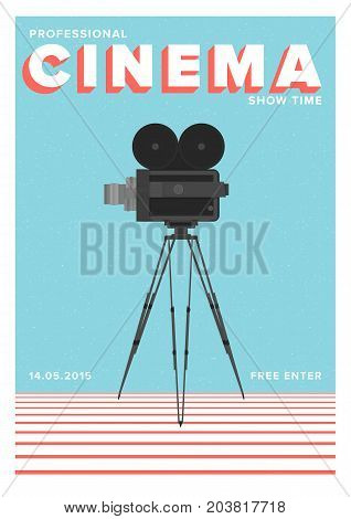 Poster or flyer template for professional cinema show time or movie premiere with film camera standing on tripod. Colorful vector illustration for event announcement.