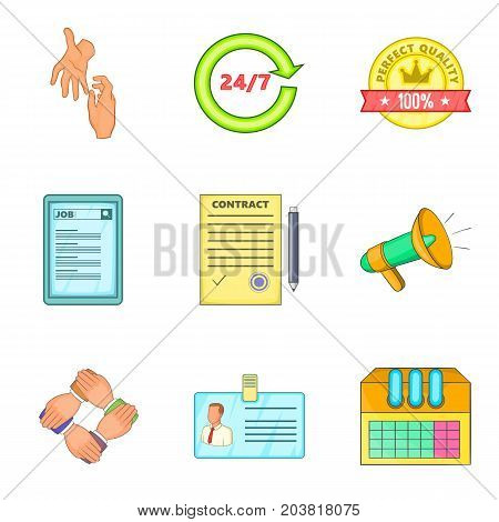 People work support icon set. Cartoon set of 9 people work support vector icons for web design isolated on white background