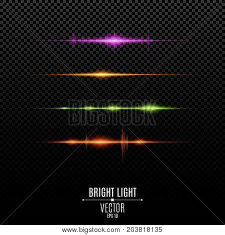 Set. Abstract purple orange green red glare and flashes isolated on a transparent background. Colorful light vibration. Volume and light. Multicolor backlight and soft light. Vector illustration