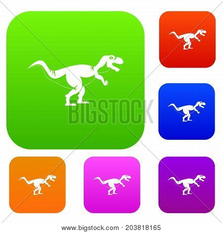 Tyrannosaur dinosaur set icon color in flat style isolated on white. Collection sings vector illustration