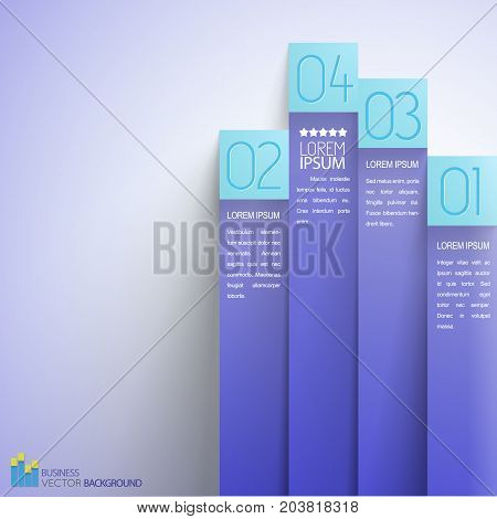 Alternative business infographics with vertical lilac paper stripes with blue numbered marks on light background vector illustration