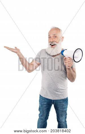Excited Senior Man With Loudspeaker