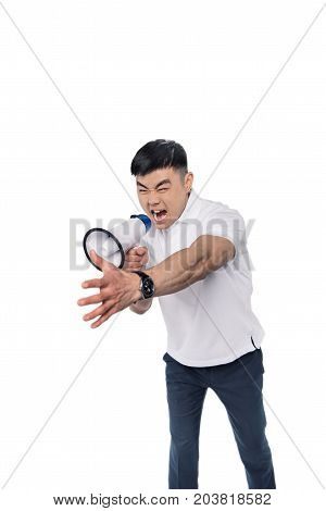 Angry Asian Man With Bullhorn