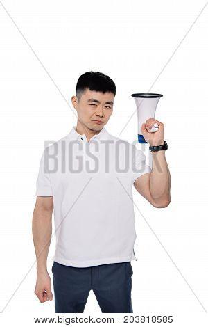 Confident Asian Man With Bullhorn