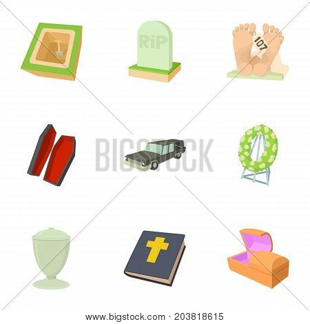 Burial service icons set. Cartoon set of 9 burial service vector icons for web isolated on white background