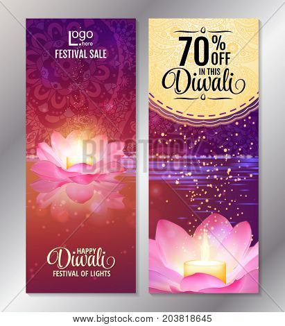 Vertical Diwali Festival Offer Poster Design Template with Lotus water lanterns and fireworks. Vector flyer set for festival of lights.