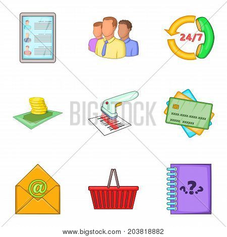 Market client support icon set. Cartoon set of 9 market client support vector icons for web design isolated on white background