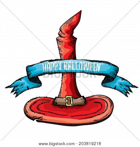 sketch red witch hat isolated on white. vector halloween doodle art red wizard cone hat. vector funky handdrawn witch hat icon