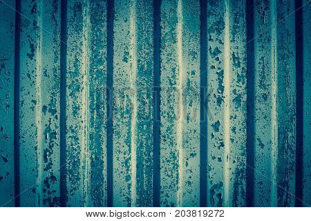 Abstract Background Texture. Pattern Metal Wall With Obsolete Paint Gently Blue Color.