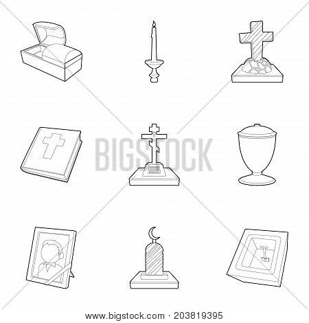 Burial service icons set. Outline set of 9 burial service vector icons for web isolated on white background