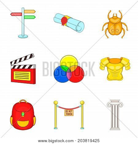 Costume icons set. Cartoon set of 9 costume vector icons for web isolated on white background