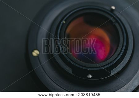 Lens for camera on the black background