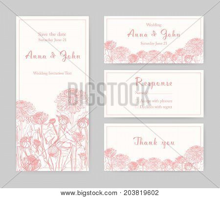 Collection of elegant templates for flyer, Save the Date card or wedding invitation with beautiful Japanese chrysanthemum flowers hand drawn with pink lines on white background. Vector illustration