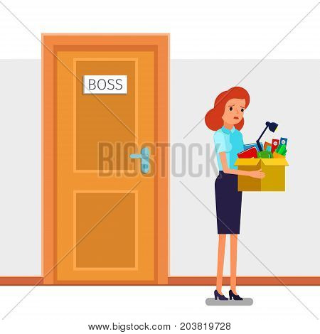Concept of unemployment, crisis, jobless and employee job reduction. Dismissed frustrated business woman holding a box with her things. Flat design, vector illustration. poster