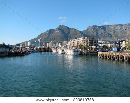 FROM THE VICTORIA AND ALFRED WATERFRONT, CAPE TOWN SOUTH AFRICA, ON A CLEAR SUMMER DAY 02