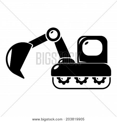 Excavator icon . Simple illustration of excavator vector icon for web design isolated on white background