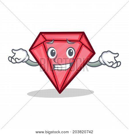 Grinning diamond character cartoon style vector illustration