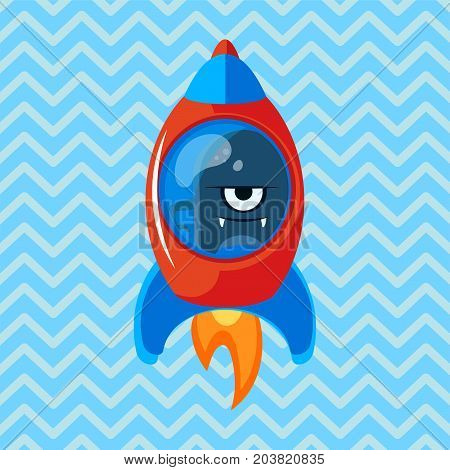 Angry alien in rocket. Cartoon vector illustration. Ufo. Space theme. Monster in space ship