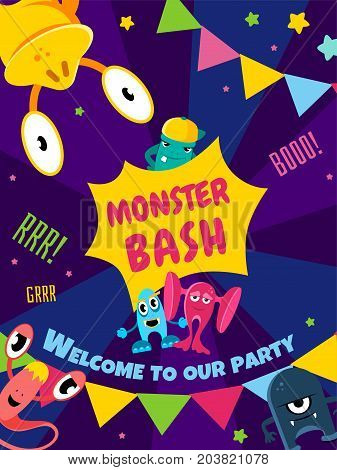 Monster bash party card. Invitation poster vector illustration templat banner