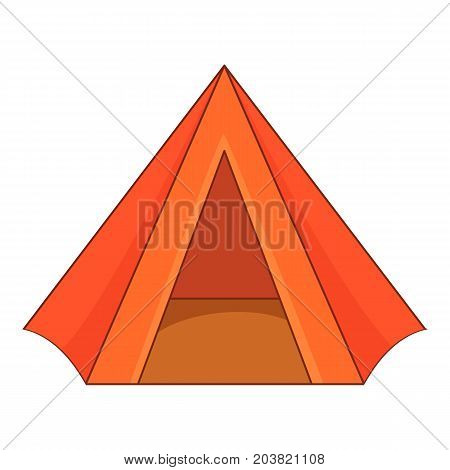 Touristic tent icon. Cartoon illustration of touristic tent vector icon for web