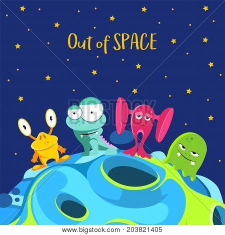 Out of space. Spaceship background with monsters in cartoon style. Vector illustration