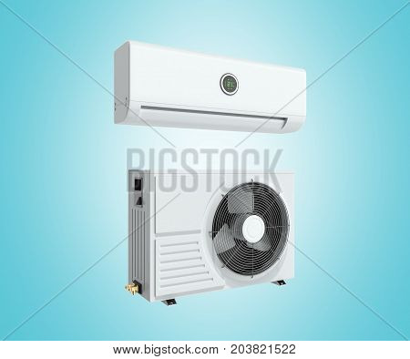 Air Conditioning Unit 3D Render On Blue Background